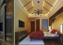 欧式暖色调卧室效果图