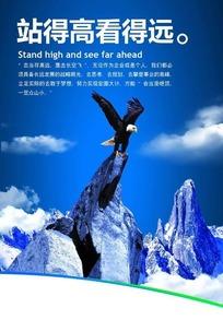 企业文化展板——站在高山上的雄鹰