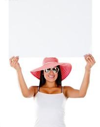 美女 画板/双手举着白画板的美女