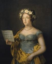 拿着乐谱的外国贵族小姐欧洲油画