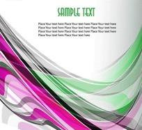 动感紫色曲线和绿色曲线环绕卡片设计