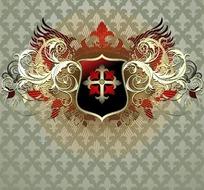 盾牌和藤蔓图案花纹背景素材