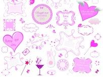 各种样式的可爱粉色边框矢量图