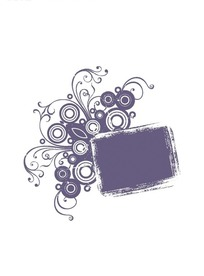 灰紫色圆圈卷草矩形花纹