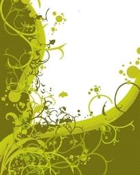 精美动感的绿色藤蔓湖圆点