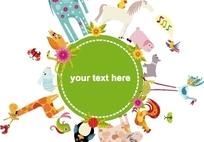 绿色系和各种卡通动物图案背景素材