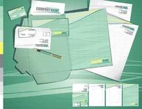 绿色系信纸信封名片文件夹EPS矢量文件