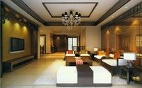 欧式白色地毯客厅效果图