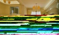 欧式田园布艺开放式客厅效果图