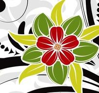 三色花_红绿三色花朵与黑色藤蔓