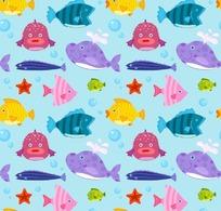 卡通背景插画缤纷彩色的海鱼小鱼