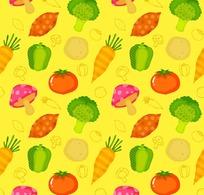 卡通背景插画缤纷的蔬果