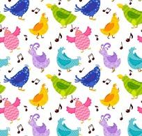 可爱的小鸟和音符底纹背景设计