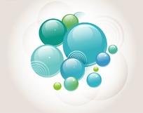 时尚背景插画水晶蓝色的立体圆球气泡
