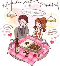 卡通人物插画-情人节吃巧克力的小女孩小男孩