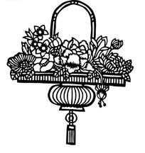 灯笼形花篮中的花朵剪纸