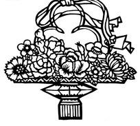 花篮中的花朵剪纸