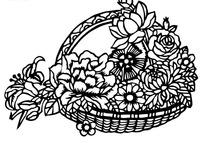 剪纸艺术花篮中的花朵