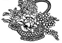 剪纸艺术花篮中的牡丹花