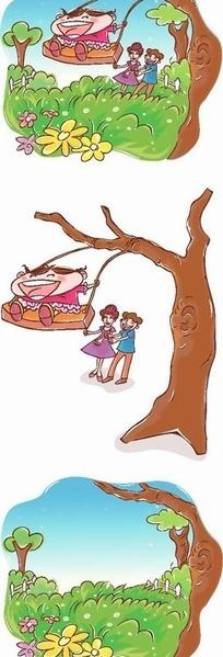 韩国人物插画草地树木荡秋千的女孩子和父母