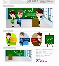 韩国人物插画学校黑板的女教师和男女学生
