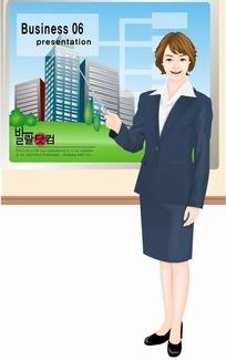矢量插画指着草地楼房介绍的职业女性