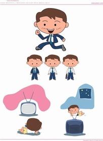 手绘卡通人物快乐生活的打工族男孩图集