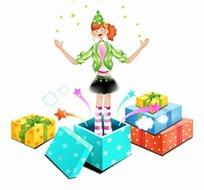 手绘卡通人物礼物盒里站着表演星光魔法的女孩