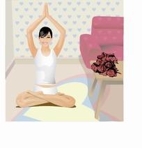 美女/手绘卡通人物坐在家里举着双手练习瑜伽的美女