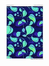 背景底纹青绿色亮丽的藤蔓绿叶花纹