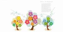 潮流花朵组成的树木矢量素材