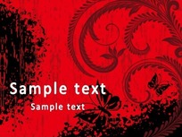 复古名片 红色水墨的蝴蝶和植物花纹底纹