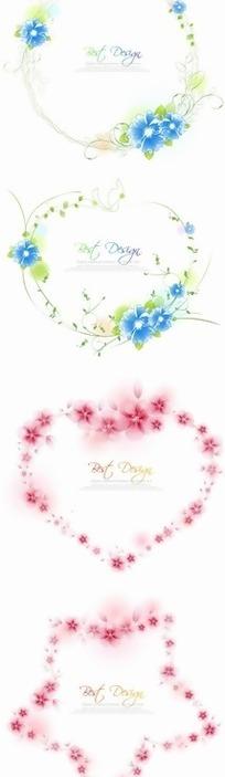 卡通矢量插画-四种形状的花环