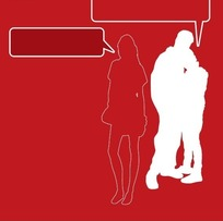 人物插画 线绘女性和拥抱的男女 及对话框