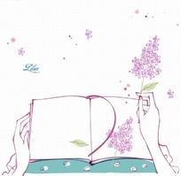 手绘拿着书本和花朵的人物线稿插画