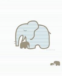 艺术插画背景横条纹上的大象母子