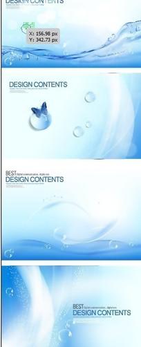 蓝色水纹水滴背景矢量图