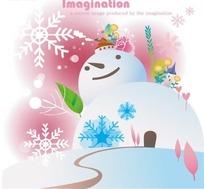 卡通画—巨大的雪人屋前的雪地和道路