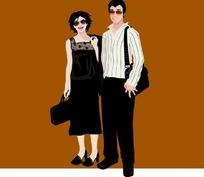 背着包的男士和提着包的墨镜女士