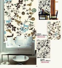 彩色植物和动物图案的墙贴效果图