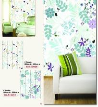 淡雅树叶和花朵图案墙贴