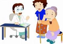 卡通人物 戴眼镜的女医生和看病的老妇人