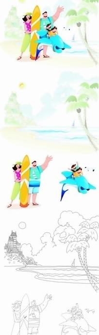 卡通人物 海边拿着黄色滑