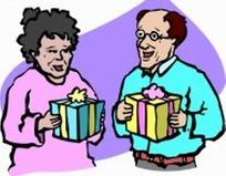 卡通人物-拿着礼物的老人和老妇人