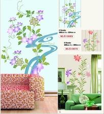 墙贴图案-淡雅紫色花朵的长藤