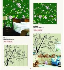 墙贴图案-开着美丽花朵的枝条和枝条上的小鸟