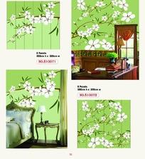 墙贴图案-绿色墙壁上白色花朵的枝条