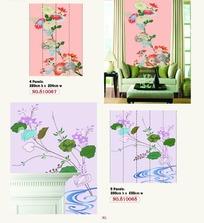 墙贴图案-艳丽和淡雅的花朵