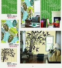 树叶竹子图案的墙贴