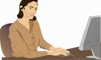 卡通人物 电脑前的客服女士